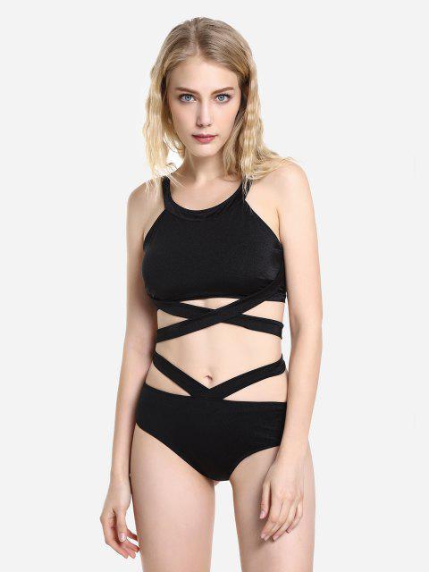 hot ZAN.STYLE Cross Wrap Halter Bikini Set - BLACK XL Mobile