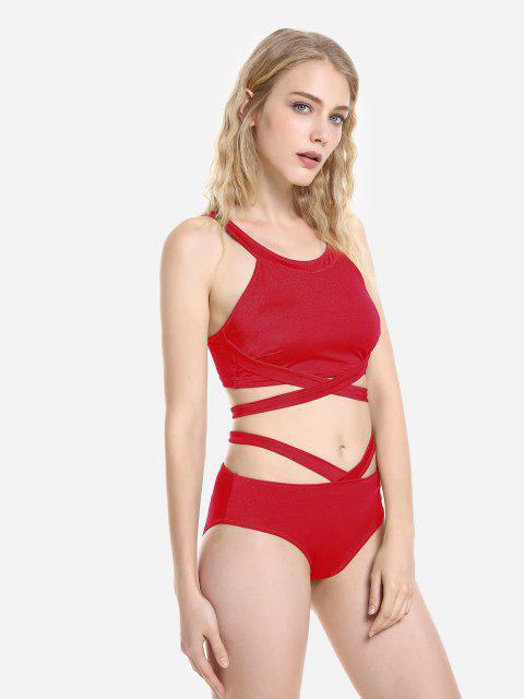 ZAN.STYLE Cross Wrap Halter Bikini Set - Красный L Mobile