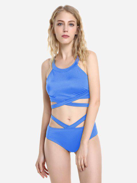 ZAN.STYLE Cross Wrap Halter Bikini Set - 藍色 XL Mobile