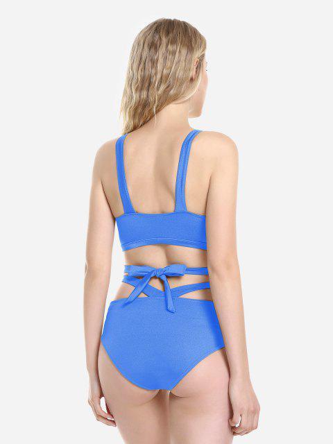shops ZAN.STYLE Cross Wrap Halter Bikini Set - BLUE XL Mobile