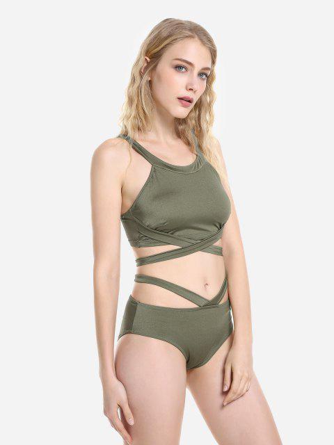 fashion ZAN.STYLE Cross Wrap Halter Bikini Set - DEEP GREEN 2XL Mobile