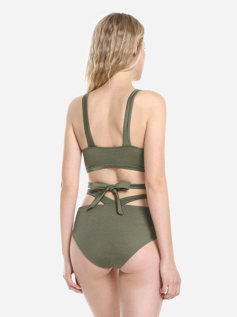 fancy ZAN.STYLE Cross Wrap Halter Bikini Set - DEEP GREEN XL Mobile