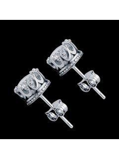 Women Stud Earrings Crystal Stud Earrings Women Casual Party Earring Girls Gift Earrings - Silver