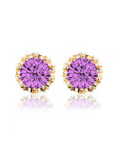 Women Stud Earrings Crystal Stud Earrings Women Casual Party Earring Girls Gift Earrings - Purple