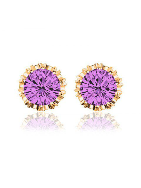 fashion Women Stud Earrings Crystal Stud Earrings Women casual Party Earring Girls Gift Earrings - PURPLE  Mobile