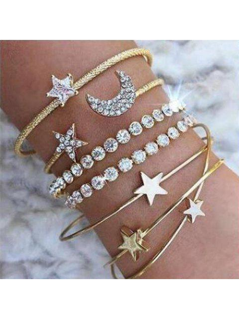 ladies 4pcs Braclet Set Stainless Steel Crystal Braclet Women Screw Hand Fashion Star Moon Love Wedding Cuff Bangle Bracelet - GOLD  Mobile