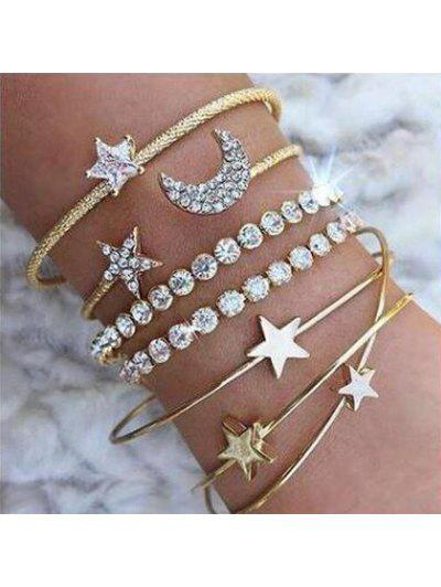 4pcs Braclet Set Stainless Steel Crystal Braclet Women Screw Hand Fashion Star Moon Love Wedding Cuff Bangle Bracelet - Gold