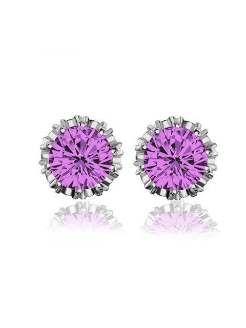 chic Women Stud Earrings Crystal Stud Earrings Women casual Party Earring Girls Gift Earrings - MAUVE  Mobile