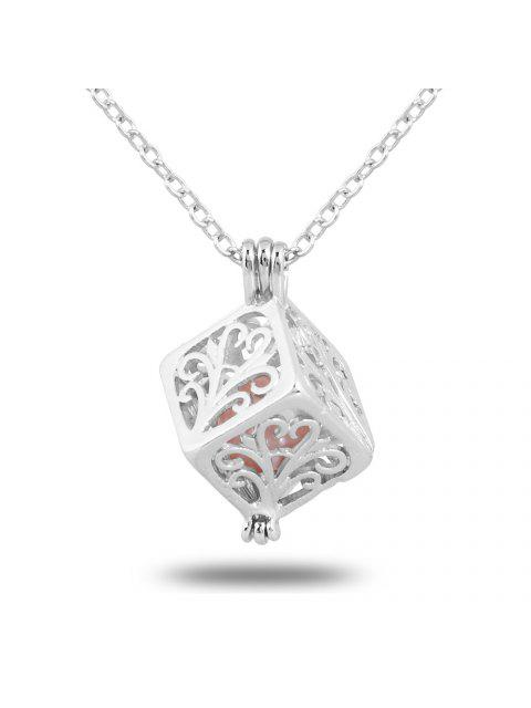 trendy Women Stainless Steel Cube Pearl Necklace Charm Womens Beauty Jewelry Durable Necklace Gift - #001  Mobile