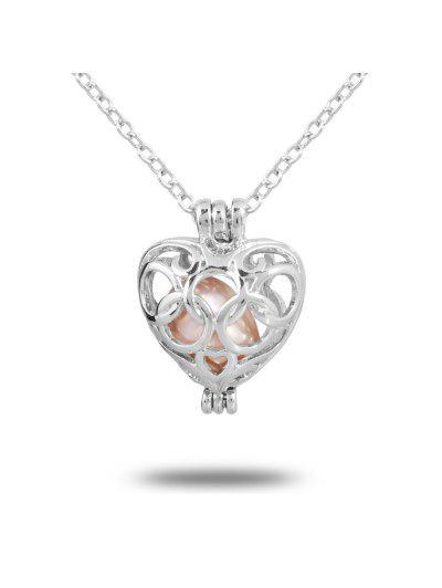Women Stainless Steel Cube Pearl Necklace Charm Womens Beauty Jewelry Durable Ne