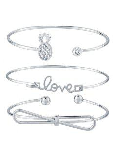 3pcs Braclet Set Stainless Steel Crystal Braclet Star Moon Love Wedding Cuff Bangle Bracelet - Silver