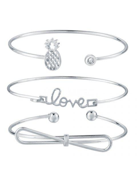 women's 4pcs Braclet Set Stainless Steel Crystal Braclet Star Moon Love Wedding Cuff Bangle Bracelet - SILVER  Mobile
