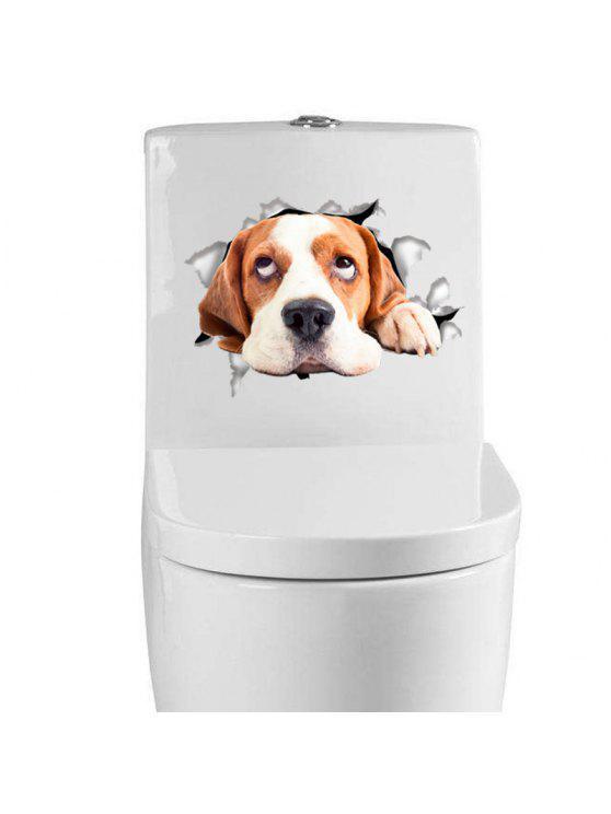 buy Home Decoration Cute Puppy Removable Toilet Wall Stickers - BROWN