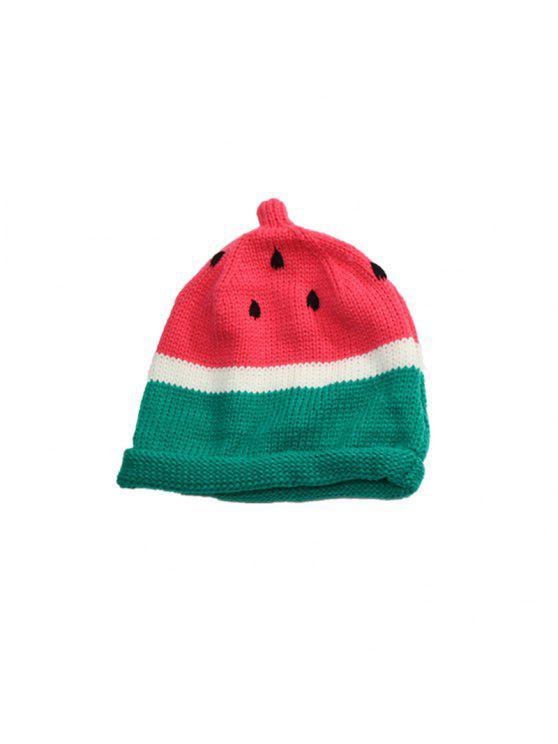 طفل قبعة للجنسين لطيف البطيخ نمط كولوربلوك قبعة - البطيخ الأحمر