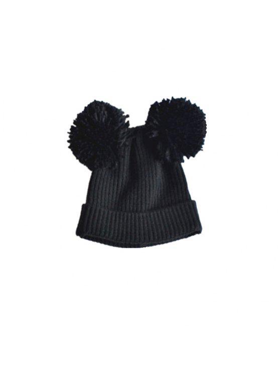 الطفل قبعة قبعة مزدوجة قبعة دافئة قبعة العفريت حك كاب - أسود
