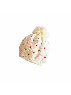 Small Girl Hat Heart Shaped Ball Decorated By Hand Knitted Beret Is Suitable For 2-8 Year Old Children Head Around 48CM - Snow White 1 - 3 Years Old