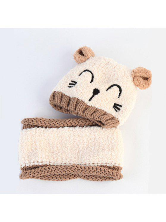 Chapéu De Bebê Cartoon Cat Pattern Colorblock Beanie And Scarf Set   Bege