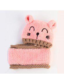 طفل قبعة الكرتون القط نمط كولوربلوك قبعة وشاح مجموعة - 粉色