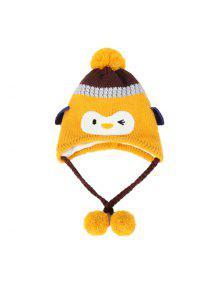 طفل الفتيان قبعة لطيف البطريق نمط كولوربلوك القطيفة الكرة الديكور قبعة - أقحوان