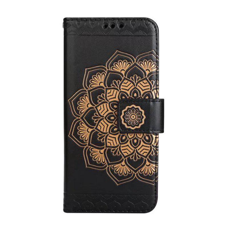 WKae Half Flowers en relief Gravure en cuir de luxe en cuir PU avec housse Kickstand et slot pour carte pour Samsung Galaxy S8