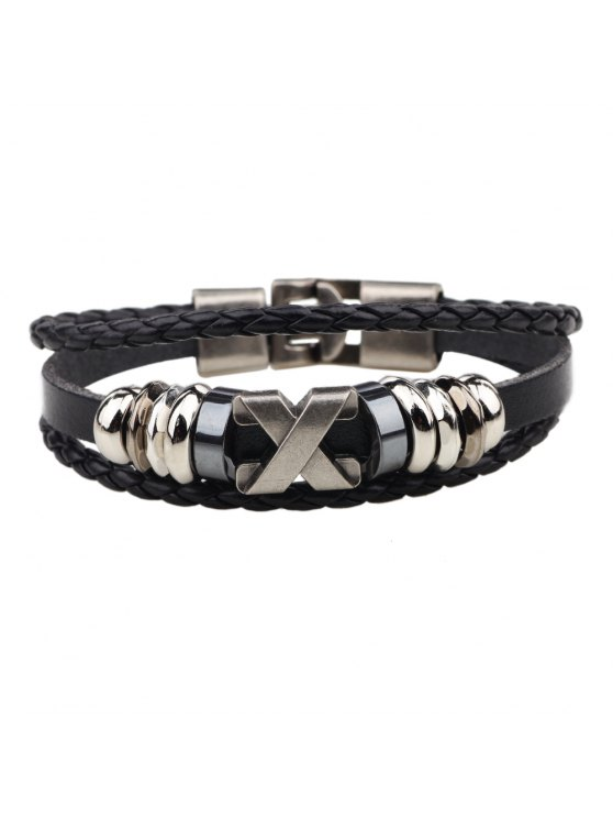 trendy Fashion Alloy x Letter Braided Leather Cuff Bracelet for Men - BLACK