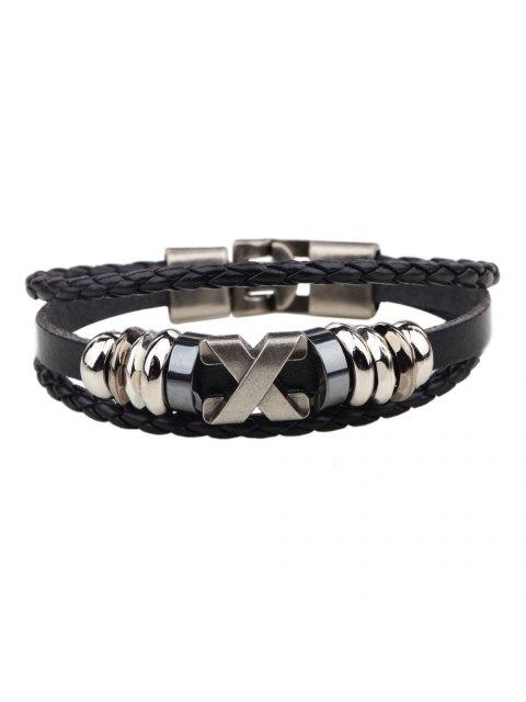 trendy Fashion Alloy x Letter Braided Leather Cuff Bracelet for Men - BLACK  Mobile