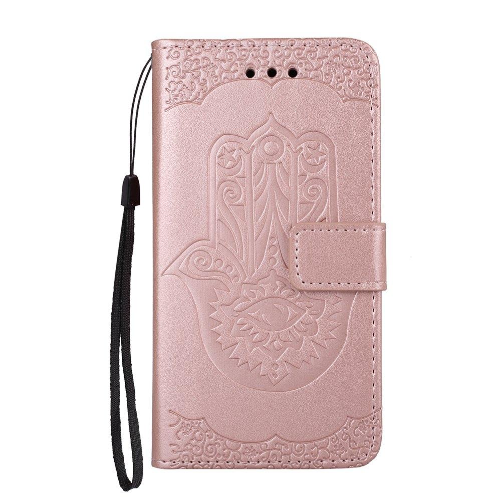 Housse en cuir gaufré Wkae avec embouts et Kickstand pour carte mémoire pour Samsung Galaxy S8