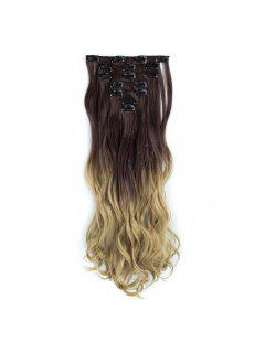TODO 24inch Curly Ombre Style 7-Piece 16-Clip Hair Extensions - #1 24inch