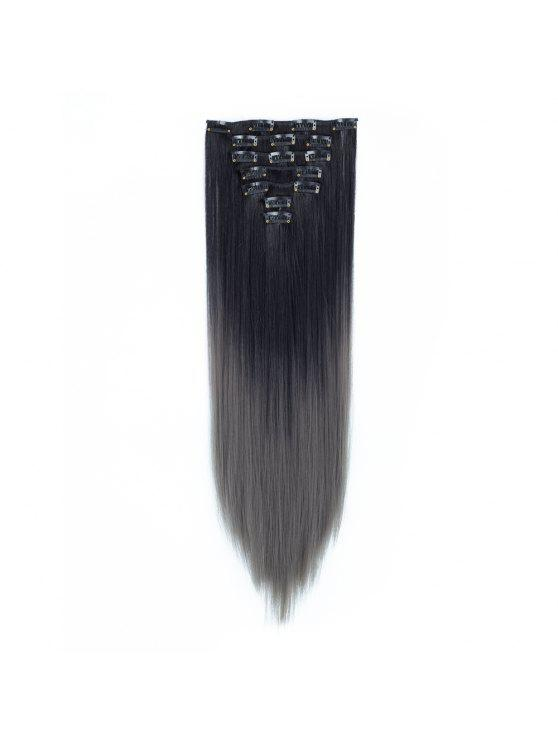 Todo Straight Ombre 7 Piece 16 Clip Clip In Hair Extensions 2 Wigs
