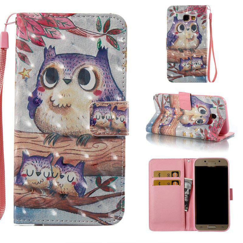 Purple Owl 3D peint le cas de téléphone pu pour Samsung Galaxy A3 2017