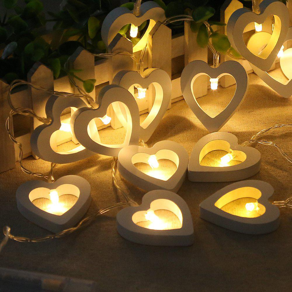Image of 10-LED Christmastree Wooden Loving Heart String Lights Decorative Colored Lamp