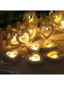 10-ليد كريستماستري خشبية محب سلسلة القلب أضواء الزخرفية الملونة مصباح - دافئ الضوء الأبيض