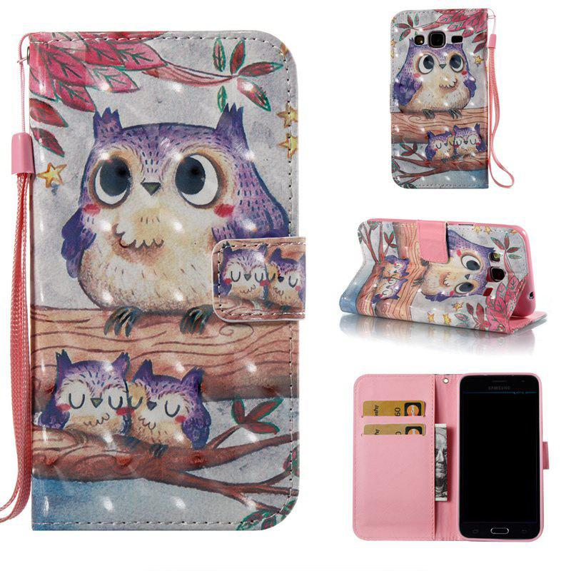 Purple Owl 3D Painted Pu Phone Case for Samsung Galaxy J3 J3 2016 228589501