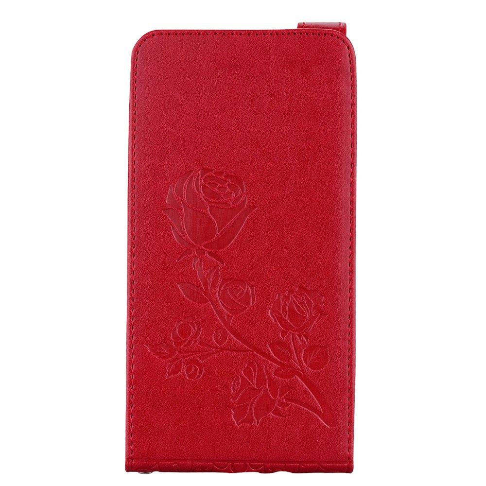 Etui en cuir à motifs floraux en relief Rose Flower avec slot pour carte pour Samsung Galaxy J7 2016 J710