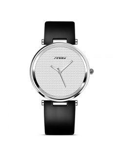 Sinobi 9393 4141 Montre De Mode Bracelet En PU Pour Hommes - Noir + Blanc