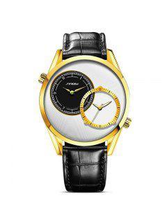 Sinobi 4153 De La Moda De La Ronda Hombres Dial Watch Box - Nieve Blanca