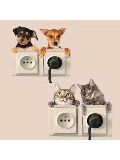womens 4PCS Cute Dogs Removable 3D Decorative Wall Stickers - COLORMIX  Mobile