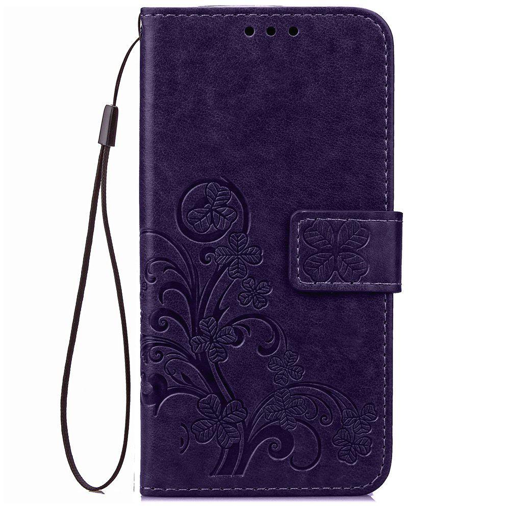 Yc Lucky Clover Holster Leaf Card Lanyard Pu étui en cuir pour Samsung J710 / J7 (2016)