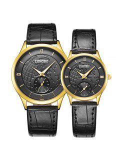 Longbo 80313 4599 Reloj De Cuero De Moda De La Venda De La Venda - Negro Y Dorado