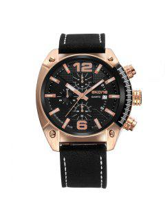 Skone 9477EG 1094 Fashion Calendar Display Men Watch - Black And Rose Gold
