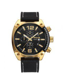Skone 9477EG 1094 Fashion Calendar Display Men Watch - Black And Golden