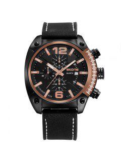 Skone 9477EG 1094 Fashion Calendar Display Men Watch - Black