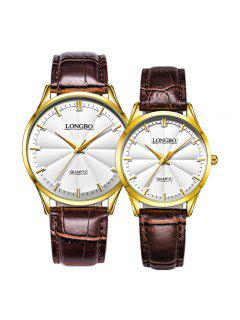 Longbo 80293 4600 Simple Quartz Couple Watch - Brown Leather Band+gold Dial