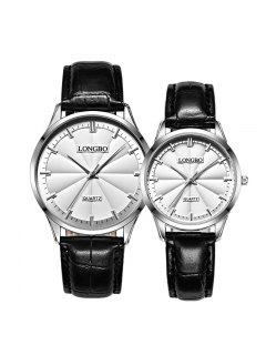 Longbo 80293 4600 Simple Quartz Couple Watch - Black + White