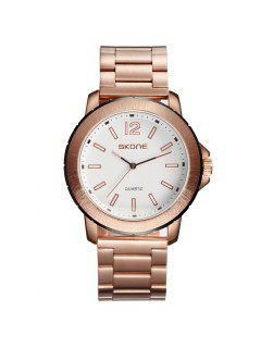 Skone 7424G03 1098 Stylish Quartz Men Watch - Rose Gold