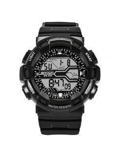 Sanda Fashion Date Display Men Sports Watch - Black + White