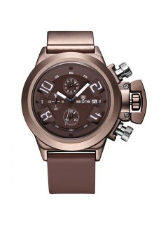 Skone 7427EG02 4188 Stylish Pin Buckle Men Watch - Brown