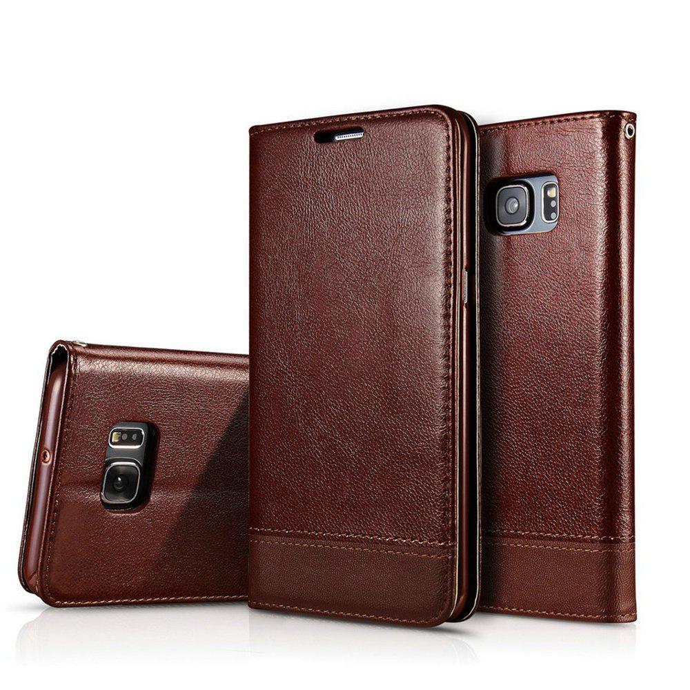Wkae Luxe style de couture mixte Double face Couvre magnétique Ultra Slim Housse en cuir Premium avec Kickstand et Slots pour carte pour Samsung Galaxy Note 5