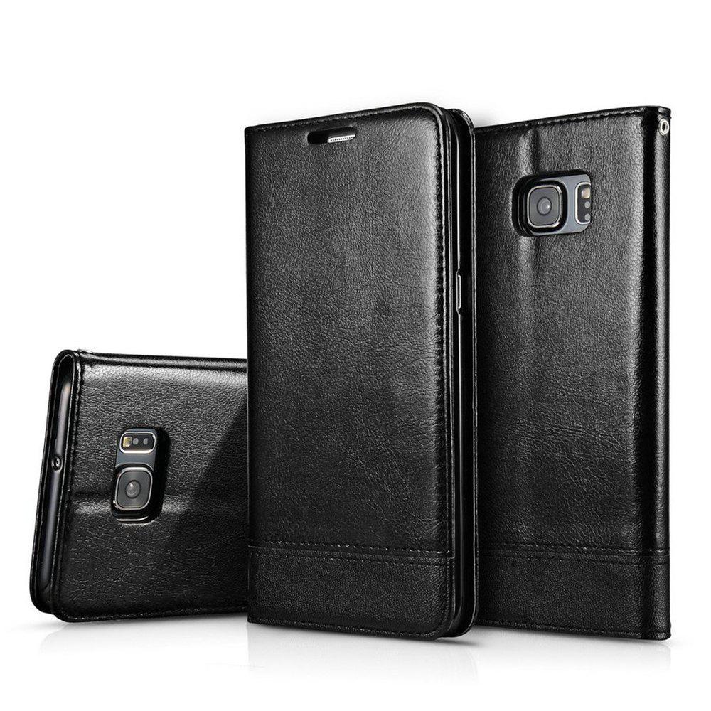 Wkae Luxury Mixed Stitching Style Double face Couvre magnétique Ultra Slim Premium Housse en cuir avec Kickstand et Slots pour carte pour Samsung Galaxy S6