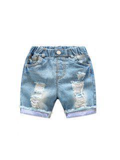 Élastique Taille Trou Enfants Denim Shorts D'été Bébé Pantalons Pantalons été Nouveau Garçons Garçons Cinq Pantalons - Lapis 100